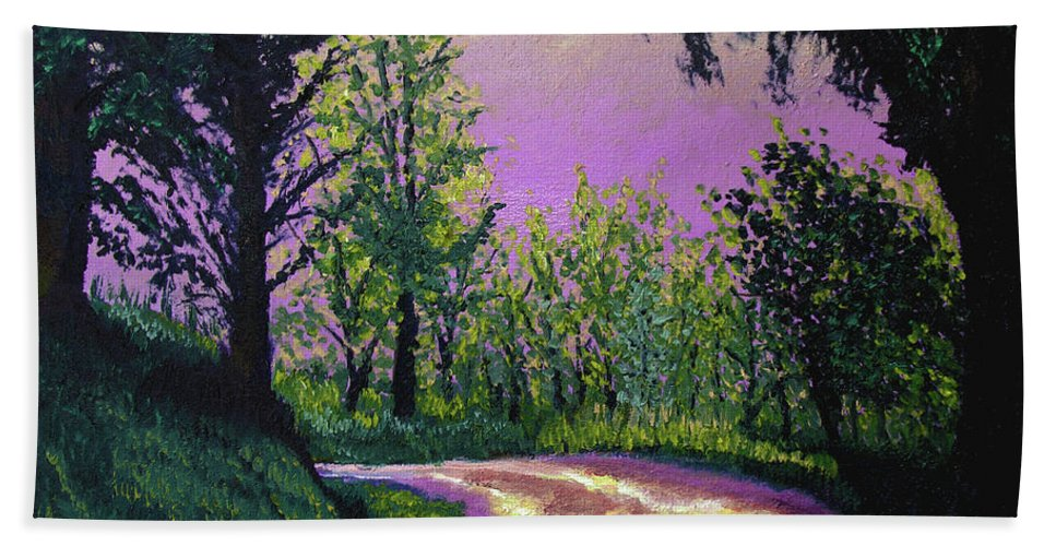 Landscape Hand Towel featuring the painting Country Road by Stan Hamilton