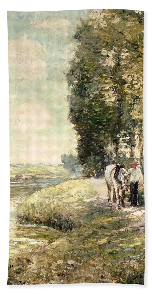 Country Road To Spuyten Hand Towel featuring the painting Country Road To Spuyten by Ernest Lawson