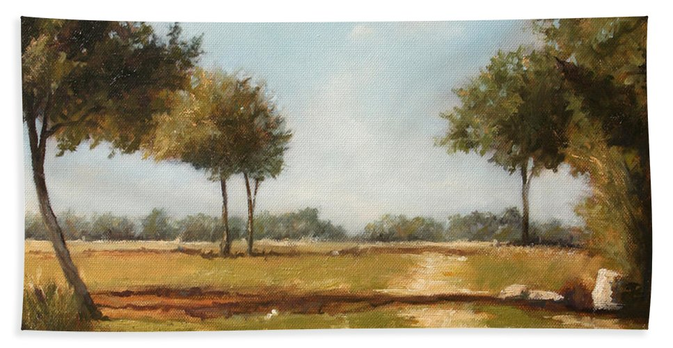 Landscape Bath Towel featuring the painting Country Road with Trees by Darko Topalski