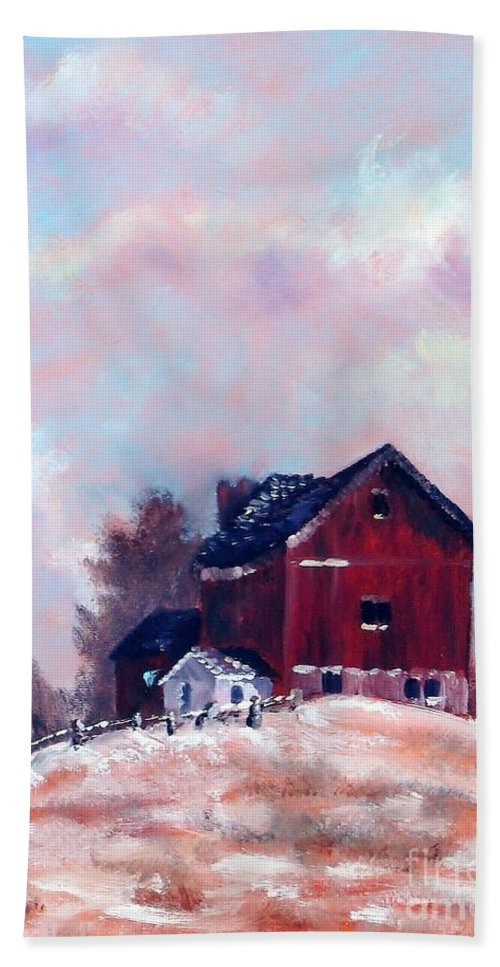 Barn Bath Sheet featuring the painting Country Sentinel by K M Pawelec