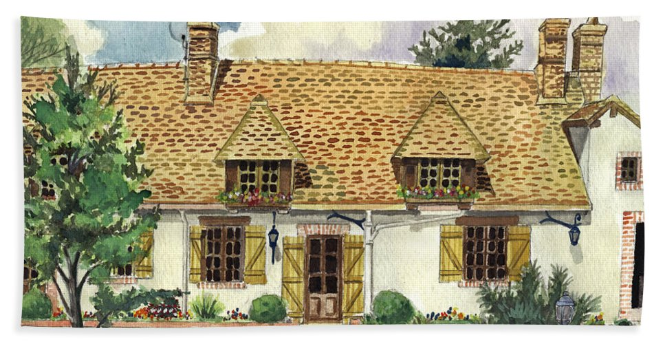 House Hand Towel featuring the painting Countryside House In France by Alban Dizdari