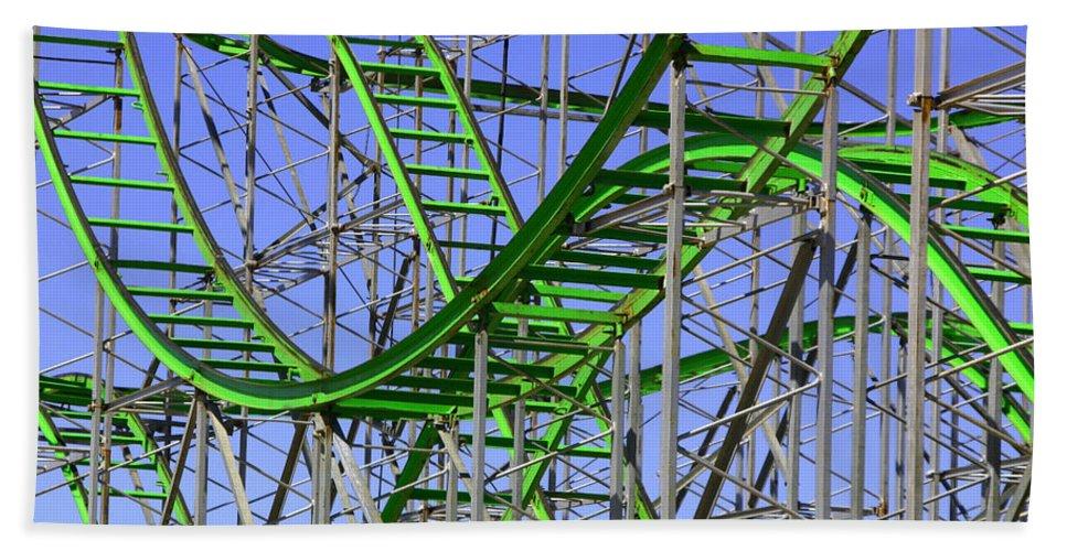 Green Bath Sheet featuring the photograph County Fair Thrill Ride by Joe Kozlowski