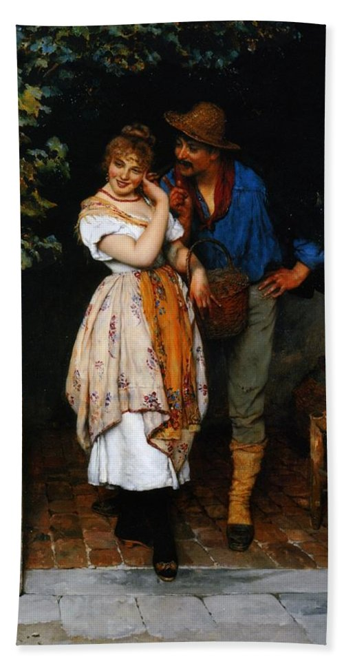 Couple Bath Sheet featuring the painting Couple Courting by Eugen von Blaas