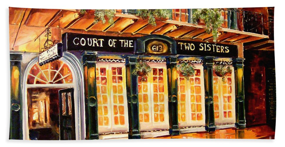 New Orleans Bath Towel featuring the painting Court Of The Two Sisters by Diane Millsap