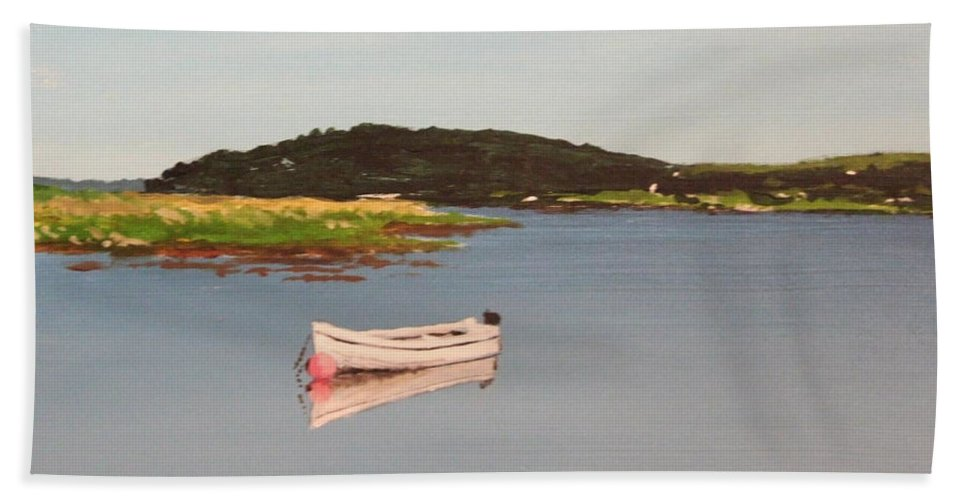 Seascape Hand Towel featuring the painting Courtmacsherry Bay by Tony Gunning