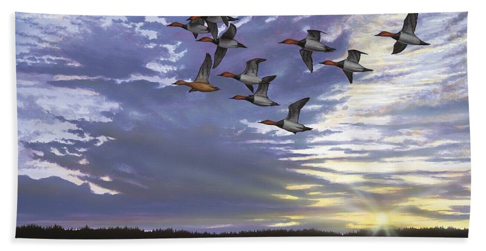 Cavasback Hand Towel featuring the painting Courtship Flight by Anthony J Padgett