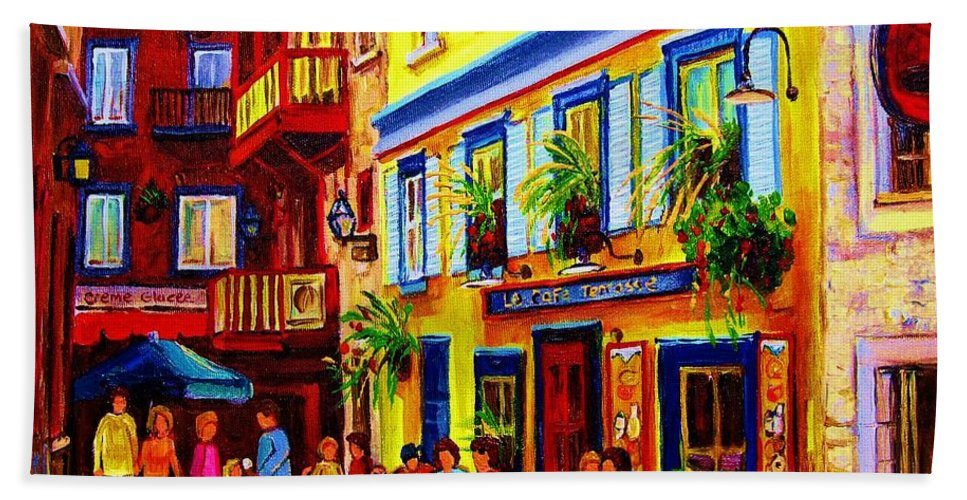 Courtyard Cafes Hand Towel featuring the painting Courtyard Cafes by Carole Spandau