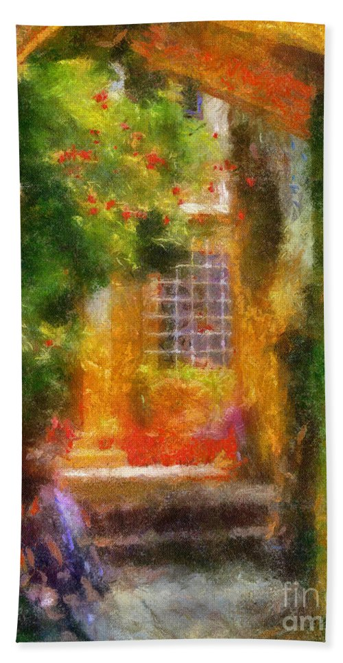 Courtyard Bath Sheet featuring the photograph Courtyard In Cavtat by Lois Bryan