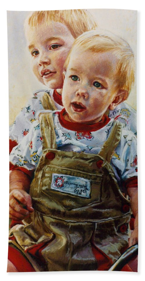 Pastel Portrait Hand Towel featuring the pastel Cousins by Jean Hildebrant