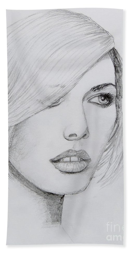 Stephen Bath Sheet featuring the drawing Cover Girl by Stephen Brooks