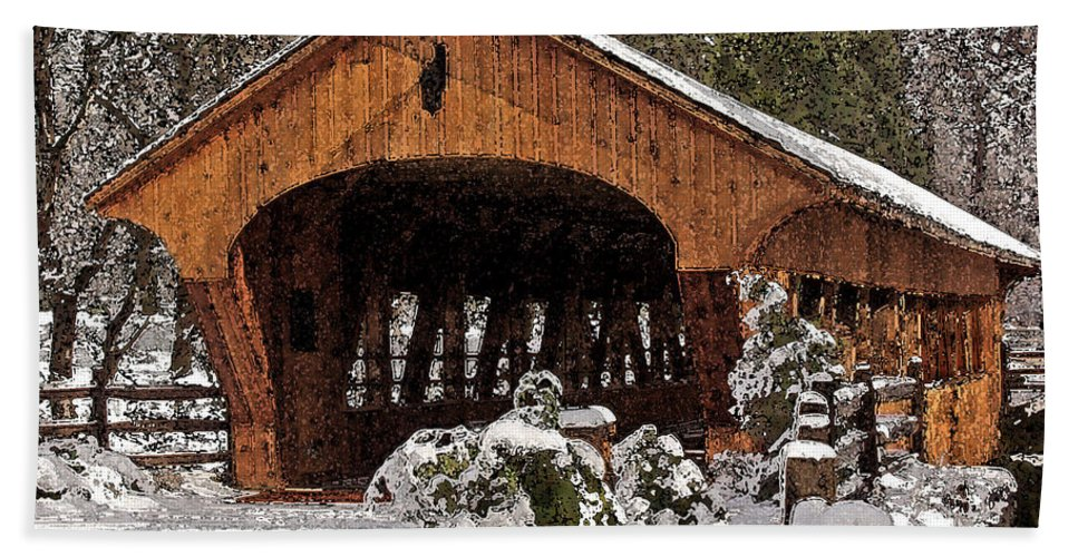 Madera Bath Sheet featuring the photograph Covered Bridge At Olmsted Falls-winter-2 by Mark Madere