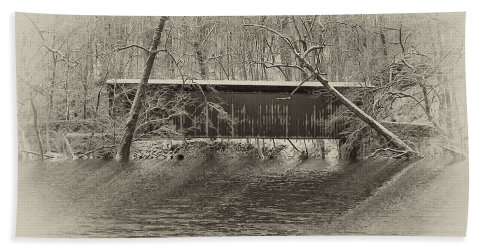 Philadelphia Bath Sheet featuring the photograph Covered Bridge In Black And White by Bill Cannon
