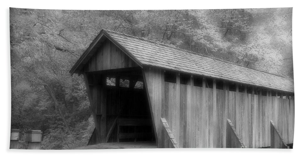 Covered Bridge Hand Towel featuring the photograph Covered Bridge by Karol Livote