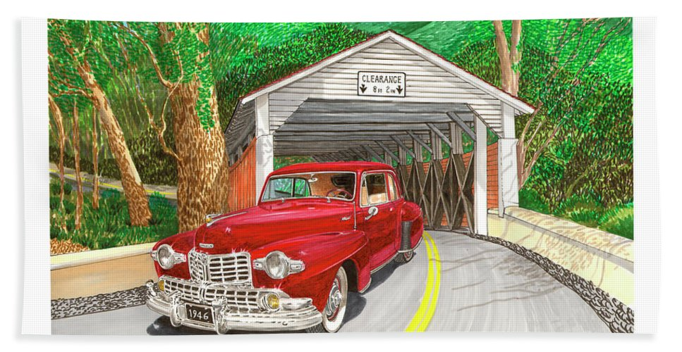 Framed Canvas Prints Of 1946 Lincoln Continental And Vintage Covered Bridge. Framed Prints Of Automotive Art. Framed Prints Of Rural Americana Transportation Art. Framed Classic Lincoln Art Prints. Bath Sheet featuring the painting Covered Bridge Lincoln by Jack Pumphrey