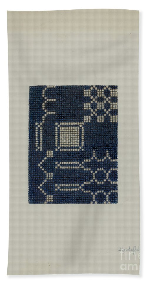 Hand Towel featuring the drawing Coverlet (section Of) by Cornelius Christoffels