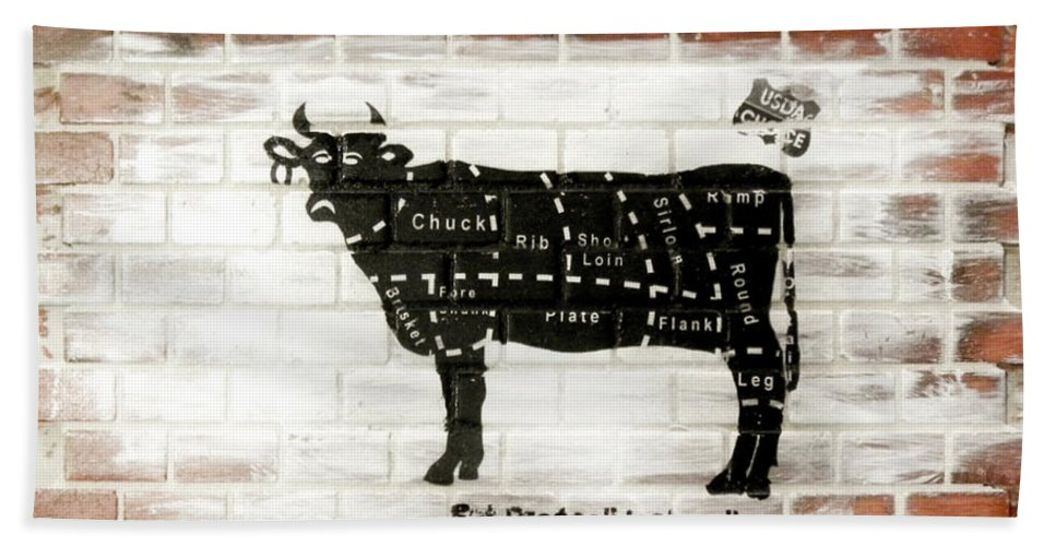 Brick Bath Sheet featuring the mixed media Cow Cuts by Herman Cerrato
