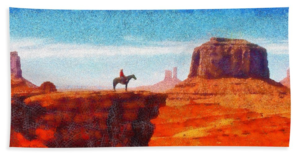 Canyon Hand Towel featuring the digital art Cowboy At Monument Valley In Utah - Da by Leonardo Digenio
