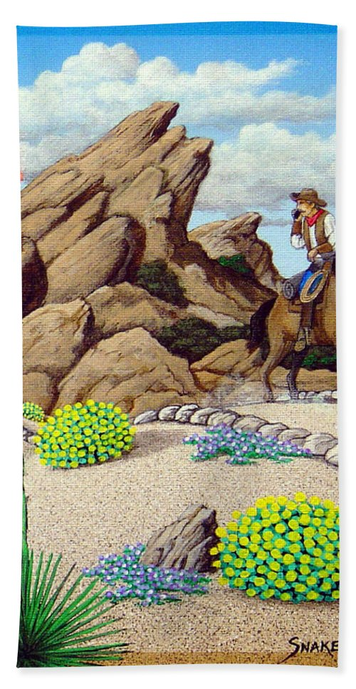 Cowboy Hand Towel featuring the painting Cowboy Concerns by Snake Jagger