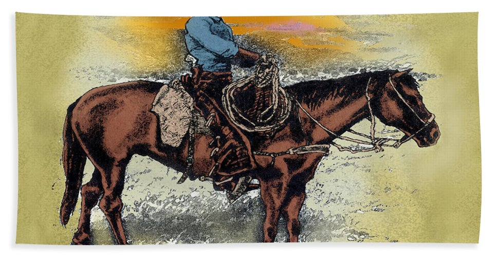 Cowboy Bath Sheet featuring the painting Cowboy N Sunset by Kevin Middleton