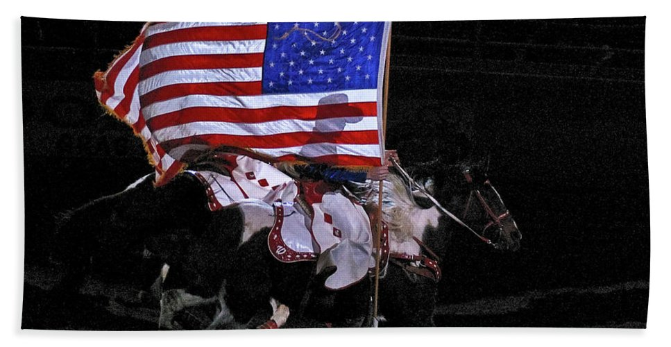 U.s. Flag Hand Towel featuring the photograph Cowboy Patriots by Ron White