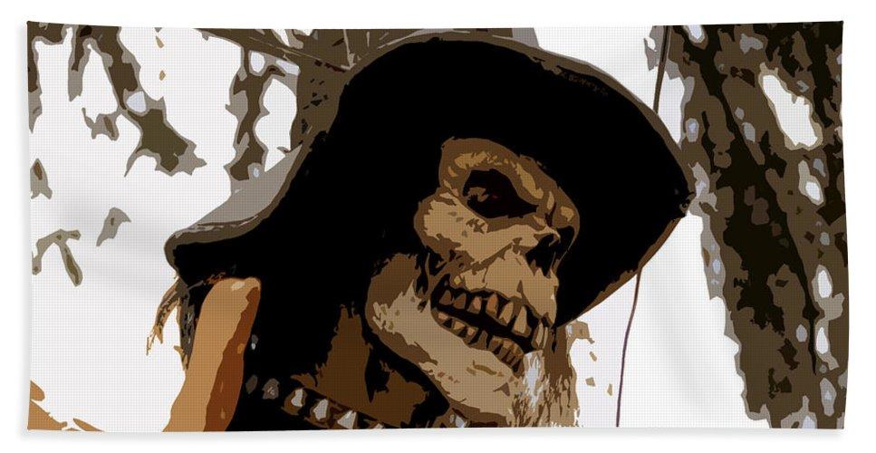 Cowboy Hand Towel featuring the digital art Cowboy Skeleton by David Lee Thompson