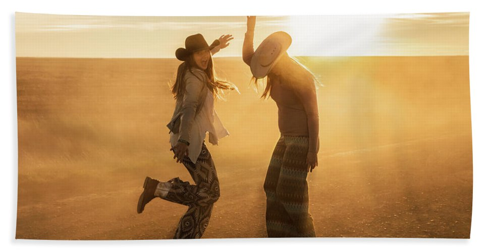 Cowgirls Bath Towel featuring the photograph Cowgirl Dance by Todd Klassy