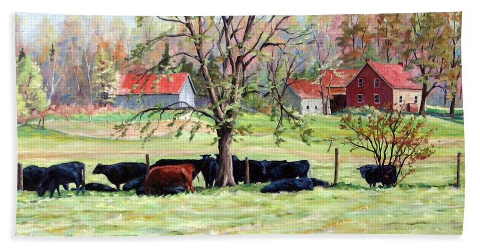 Cows Hand Towel featuring the painting Cows Grazing In One Field by Richard T Pranke
