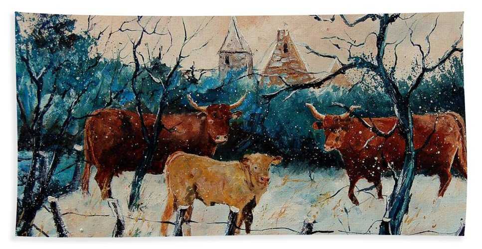 Animal Bath Towel featuring the painting Cows by Pol Ledent