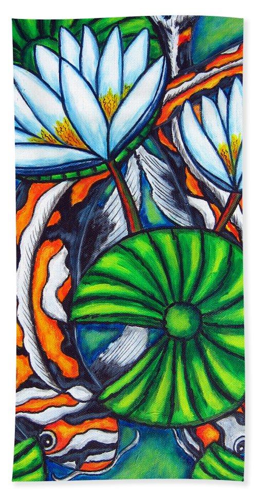Koi Bath Sheet featuring the painting Coy Carp by Lisa Lorenz