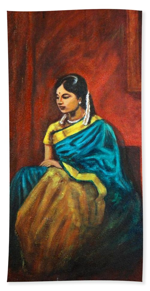 Coy Hand Towel featuring the painting Coy by Usha Shantharam
