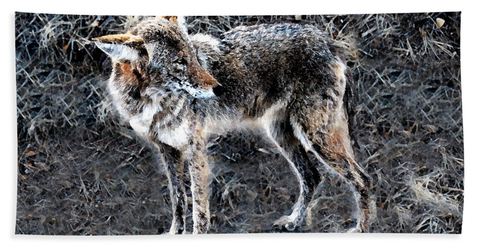 Coyote Bath Sheet featuring the painting Coyote Waits by David Lee Thompson