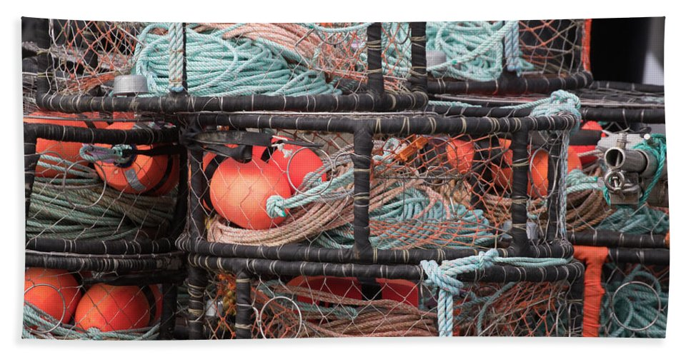 Crab Hand Towel featuring the photograph Crab Pots by Deana Glenz