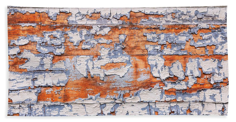 Blue Bath Sheet featuring the photograph Cracked Wood Paint by Sophie McAulay