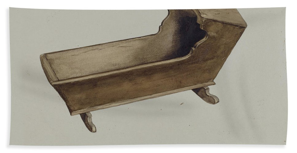 Hand Towel featuring the drawing Cradle by Albert Gold