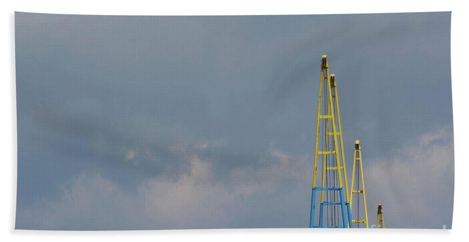 Crane Jibs Bath Sheet featuring the photograph Crane Jibs by Steve Purnell
