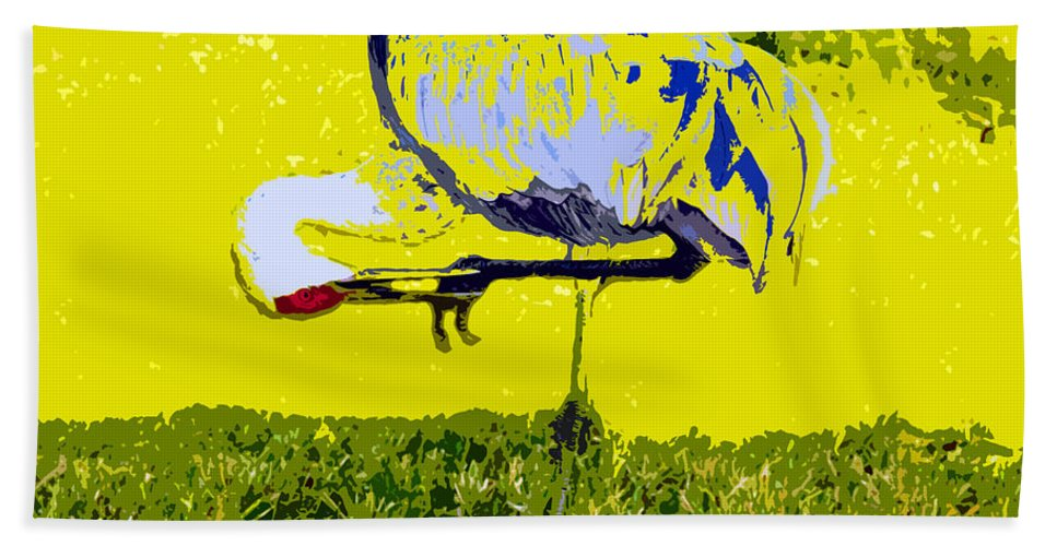 Sand Hill Crane Hand Towel featuring the painting Craning by David Lee Thompson
