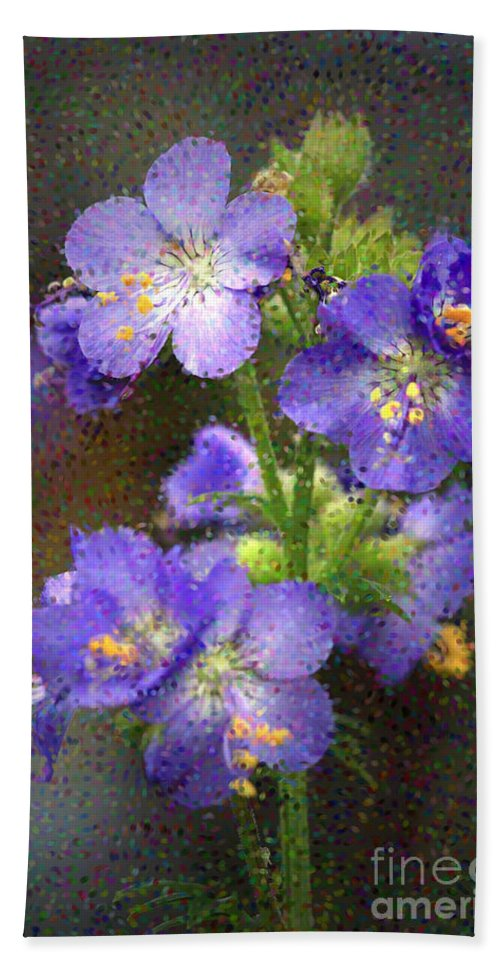 Flowers Hand Towel featuring the photograph Craquelure On Blue by Deborah Benoit