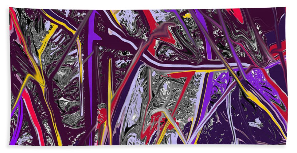 Abstract Bath Sheet featuring the digital art Crash by Ian MacDonald