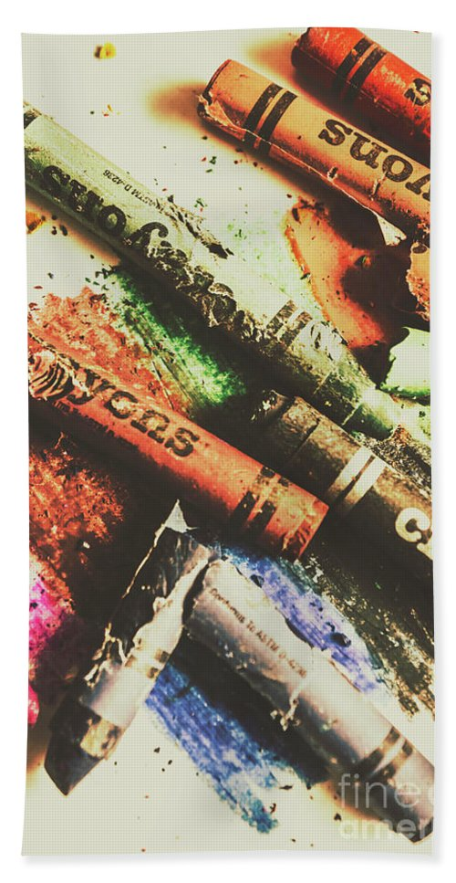 Antique Hand Towel featuring the photograph Crash Test Crayons by Jorgo Photography - Wall Art Gallery