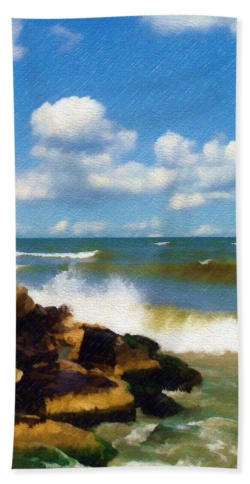 Seascape Bath Sheet featuring the photograph Crashing Into Shore by Sandy MacGowan