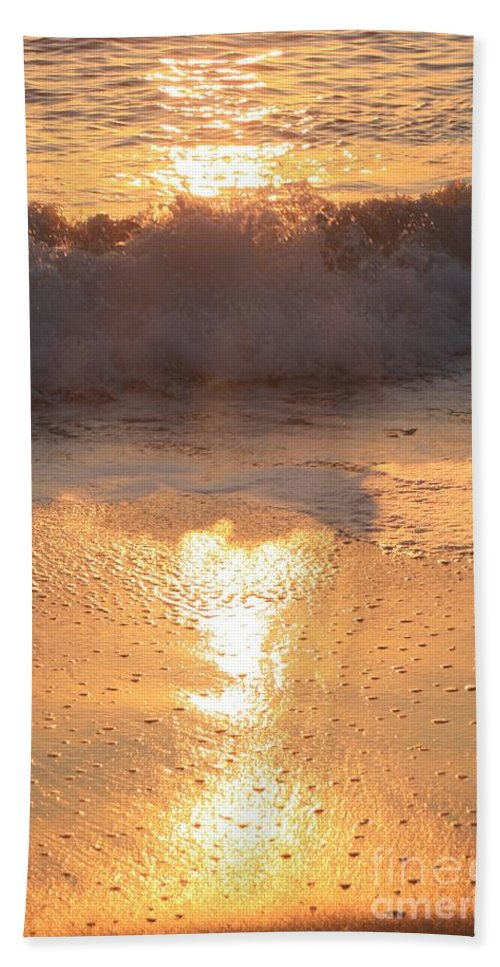 Waves Bath Sheet featuring the photograph Crashing Wave At Sunrise by Nadine Rippelmeyer