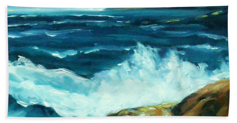 Sea Hand Towel featuring the painting Crashing Waves by Richard T Pranke
