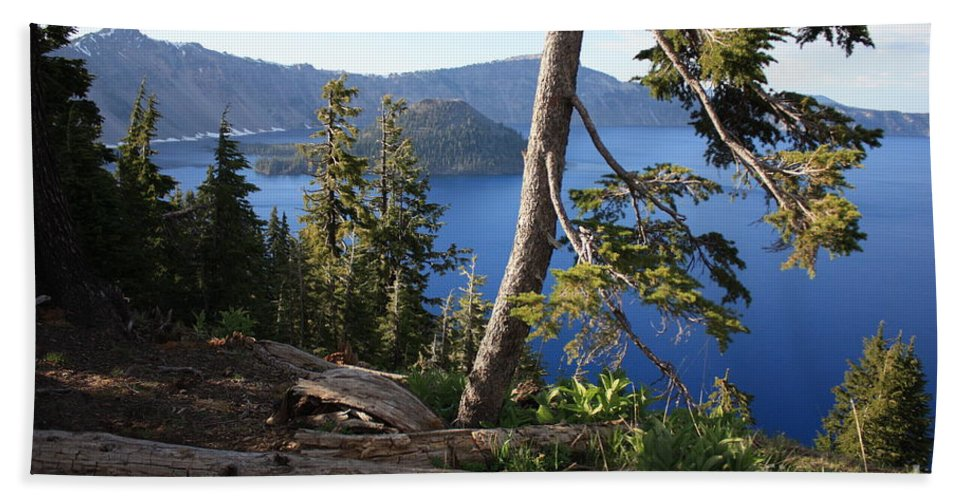 Crater Lake Bath Sheet featuring the photograph Crater Lake 9 by Carol Groenen