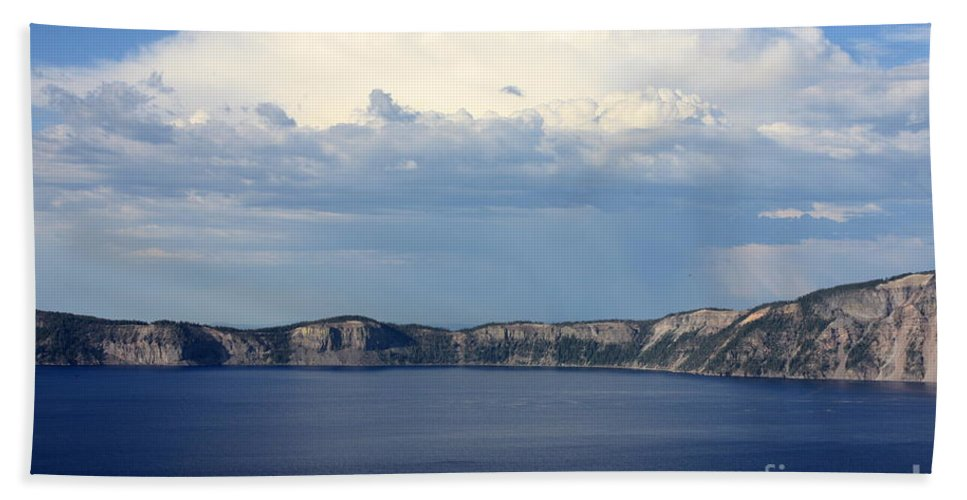 Clouds Bath Towel featuring the photograph Crater Lake by Carol Groenen