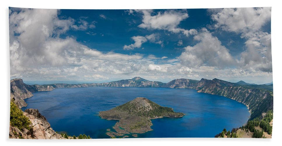 Watchman Overlook Bath Sheet featuring the photograph Crater Lake From Watchman Overlook by Greg Nyquist