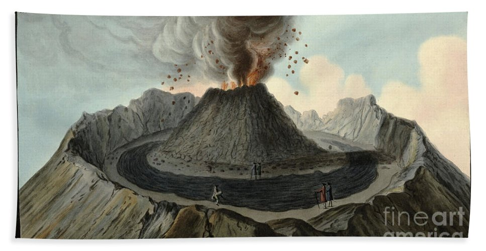 Historic Hand Towel featuring the photograph Crater Of Mount Vesuvius, Before 1767 by Wellcome Images