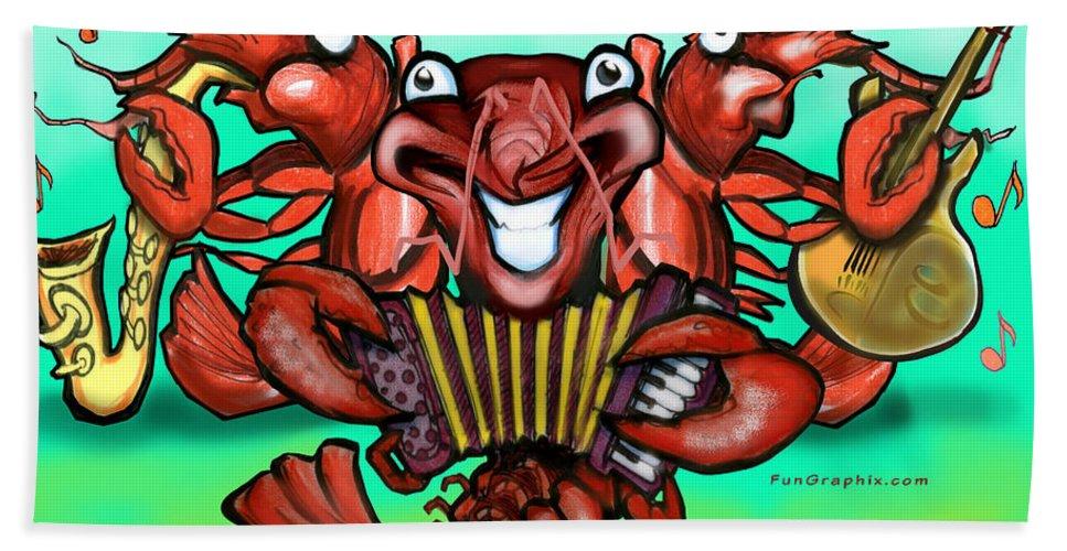 Crawfish Bath Sheet featuring the greeting card Crawfish Band by Kevin Middleton
