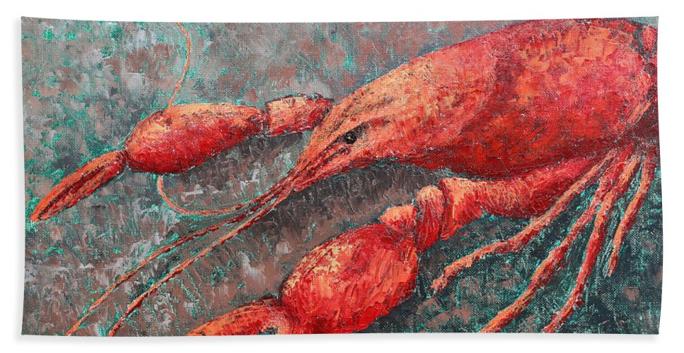 Animal Hand Towel featuring the painting Crawfish by Todd A Blanchard