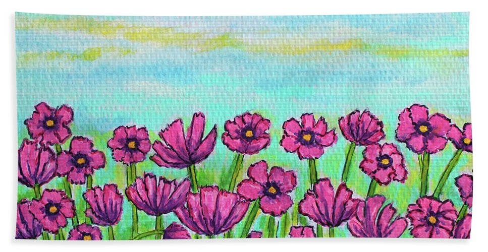 Cosmos Bath Towel featuring the painting Crazy for Cosmos by Lisa Lorenz