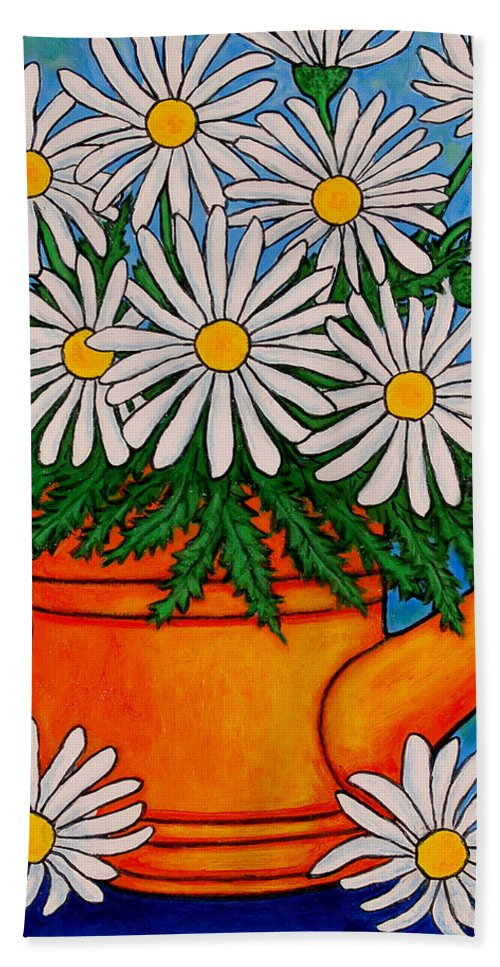 Daisies Hand Towel featuring the painting Crazy for Daisies by Lisa Lorenz